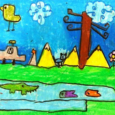 نقاشی خلاق . اثر ماکان طاهری . ۷ساله . سال ۶ ۹
