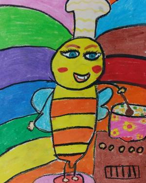 نقاشی خلاق . اثر پرنیان حسین زاده . ۹ ساله .سال ۶ ۹
