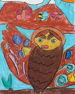 نقاشی خلاق . اثر پرنیان اعلایی . ۹ ساله .سال ۶ ۹