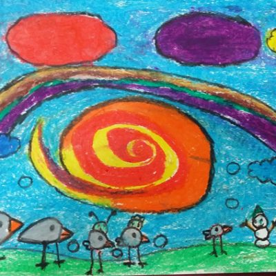 نقاشی خلاق . اثر فاطیما شعبانی  . ۸ ساله . سال  ۶ ۹