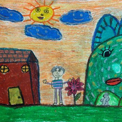 نقاشی خلاق . اثر مبینا قلی پور . ۱۰ ساله .سال ۶ ۹