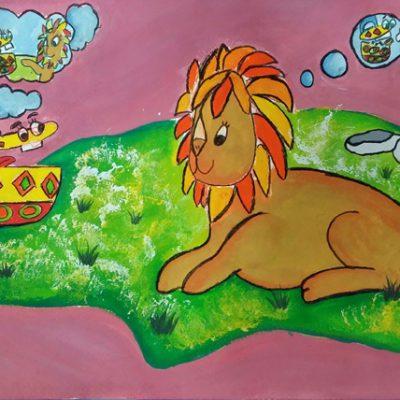 نقاشی خلاق . اثر بهار فرحی . ۱۰ ساله .سال ۶ ۹