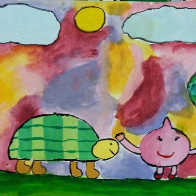 نقاشی خلاق . اثر آیلین باقری . ۱۰ ساله .سال ۶ ۹