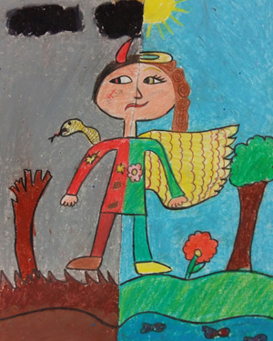نقاشی خلاق . اثر مهرو سلیمانی . ۱۰ ساله .سال ۶ ۹