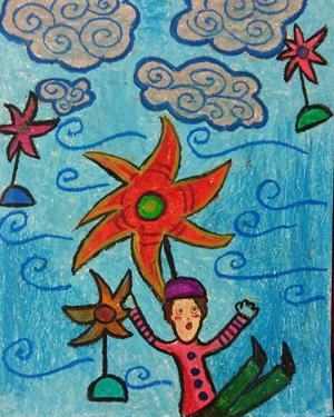 نقاشی خلاق . اثر ویدا مهدوی . ۱۱ساله .سال ۶ ۹