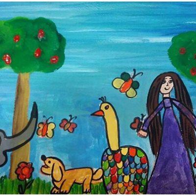 نقاشی خلاق . اثرمهرناز نیازمند . ۹ ساله .سال ۶ ۹