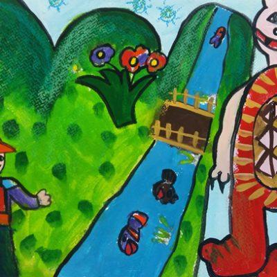 نقاشی خلاق . اثر سوگند طوافی . ۷ساله . سال ۶ ۹
