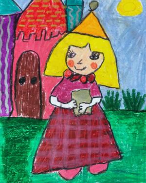 نقاشی خلاق . اثر آتوسا علی نژاد . ۸ ساله . سال ۶ ۹