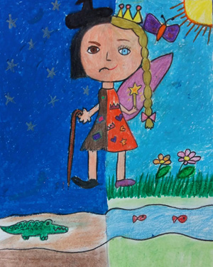 نقاشی خلاق . اثر مهربان صالح ایمن . ۱۰ ساله .سال ۶ ۹