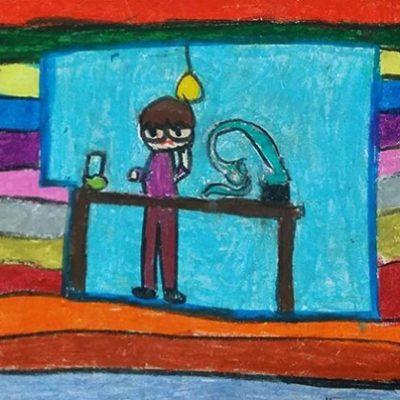 نقاشی خلاق . اثر طاها ملکی . ۸ ساله . سال ۶ ۹