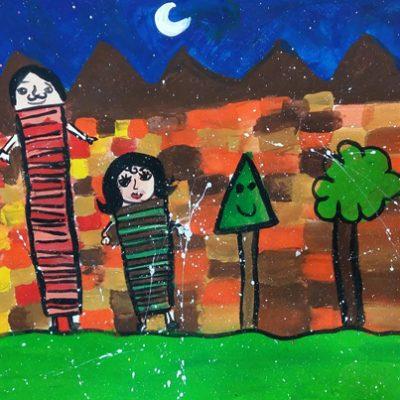 نقاشی خلاق . اثر پارمیس پیرعلایی . ۹ ساله .سال ۶ ۹