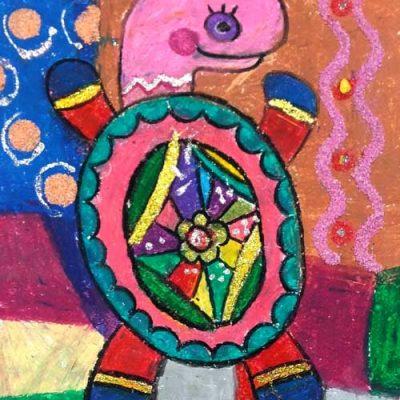 نقاشی خلاق .اثرآلینا کاظمی . ۵ ساله . سال  ۹۵