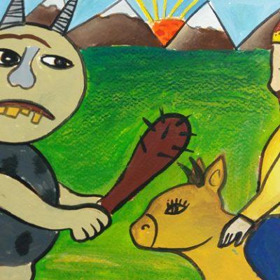 نقاشی خلاق . اثر امیرعلی بیژنگ . ۱ ۱ ساله .سال  ۶ ۹