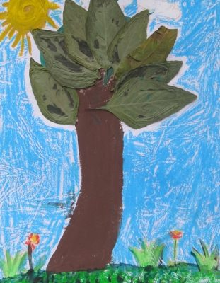 كلاژ نقاشي . اثر كيانا ساعد . ۶ ساله . سال ۹۲