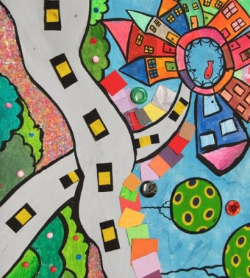 نقاشی خلاق .اثر پوریا صمیمی راسخ . ۱۰ ساله . سال ۹۴