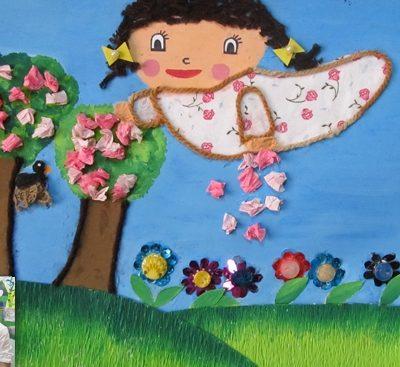 كلاژ نقاشي . اثر نرجس غلامي . ۷ ساله . سال ۹۲