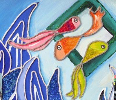 كلاژ نقاشي . اثر سانيا ساجدي - فلورا حقيقي . سال ۹۲
