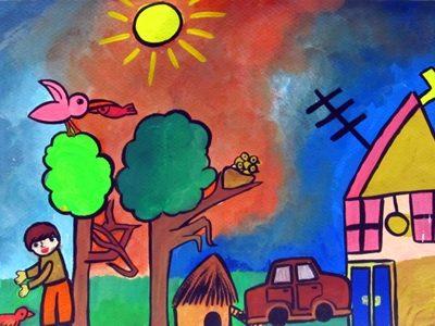 نقاشي خلاق . اثر امير اسمي . ۸ ساله . سال ۹۳