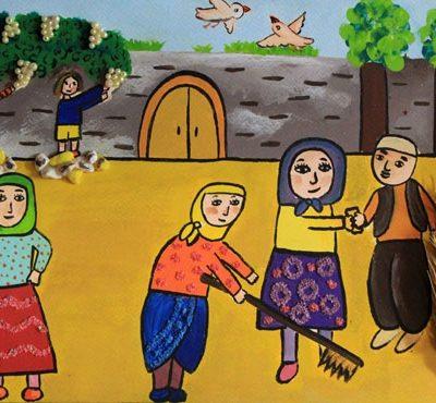 كلاژ نقاشي . اثر یاس نورانی . ۸ ساله . سال ۹۳